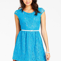 Short-Sleeve Lace Dress