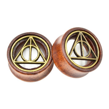 The Deathly Hallows Wooden Flesh Tunnel Plug Earing Jewelry Piercing Gauge Expander Ear Stretchers