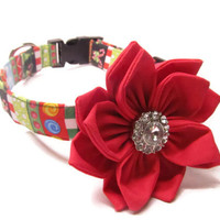 Designer dog collar and flower - Funky Christmas Dog Collar - Cute dog collar, holiday dog collar, christmas dog collar