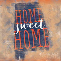 alabama - state typography art - typography print - orange home decor - blue home decor - home sweet home alabama - watercolor - state art
