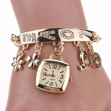 Women Fashion Chic Love Rhinestone Stainless Steel Chain Bracelet Wrist Watch (Color: Gold) [8833610252]