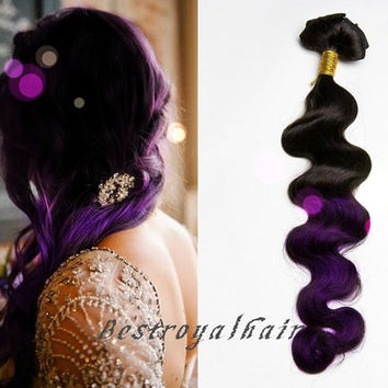 Black and Purple Ombre hair extension, Curly Two Colors Ombre Indian remy clip in hair extensions RHS241
