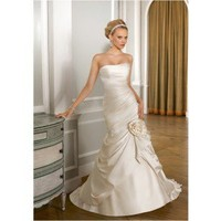 Sheath Sweetheart Chapel Train Elastic Satin Wedding Dress WSC06294