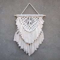 Macrame tapestry Boho living room decor Fiber art White wall hanging Handmade gypsy fiber decor Nursery wall decoration gift for wife