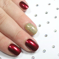 Petite Fake Nails - Press On Nails - Small Size False Nails - Extra Small Acrylic Nail Set - Red & Gold Holographic Glitter Christmas Nails