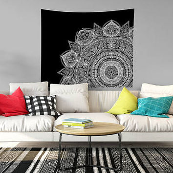 Black And White Mandala Very Popular Meditation Mandala Bohemian Boho Design Dorm Room Art Yoga Studio Art