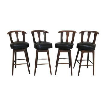 Pre-owned Mid-Century Modern Swivel Bar Stools - Set of 4