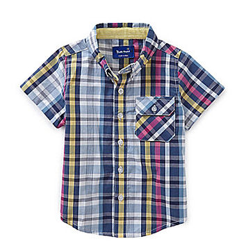 Beetle & Thread 12-24 Months Plaid Woven Shirt - Navy