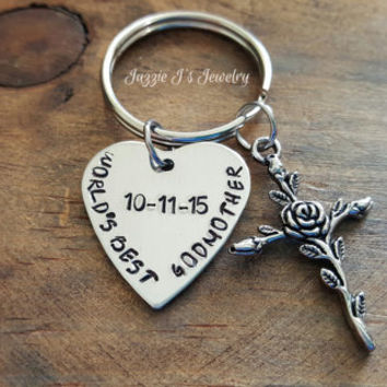 World's Best Godmother Personalized Keychain, Godmother/Godparent Gift, Baptism Gift for Godmother, Christening Gift for Godmother