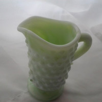 Creamer Pitcher Hobnail Fenton Vintage Glass Slag Glass Jadite Milkglass marbled Green and Opaque White Cream Pitcher