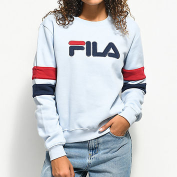 FILA Newton Light Blue Crew Neck Sweatshirt | Zumiez