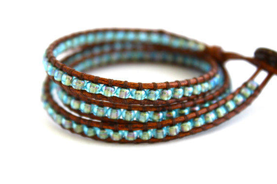 Mermaid Seed Bead Leather Wrap Bracelet. Turquoise Shimmer Beach Wrap on Distressed Brown Greek Leather. Wraps Three Times