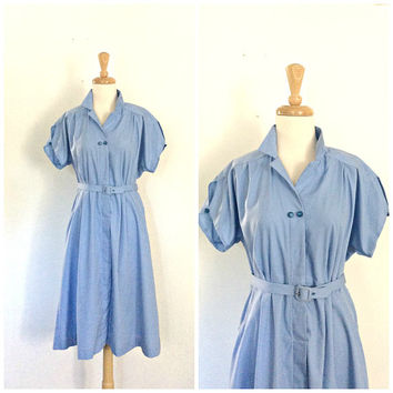 Vintage 60s Shirtwaist Dress - fit and flare - Lucy dress - blue cotton dress - L XL