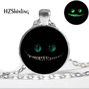 Glow in the dark jewelry Alice in Wonderland Necklace, Book Smiling cat necklace glass art photo  glowing pendant necklace