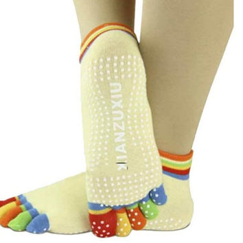 5-Toe Colorful Yoga Gym Non Slip Massage Toe Socks Full Grip