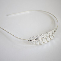 Silver leaf head band, bridal bridesmaid hair accessories, solitaire minimalist romantic delicate natural country wedding