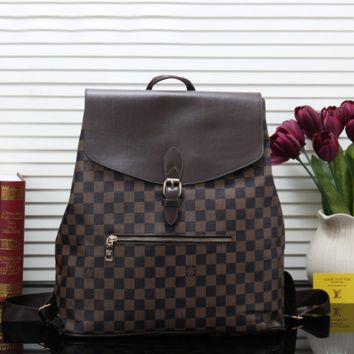 Fashion Louis Vuitton LV Leather Backpack Travel Bag