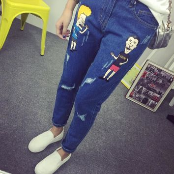 Preppy Style Women Jeans Fashionable Casual Cute Hole Patchwork Pocket Cartoon Character Pencil Pants Plus Size Blue