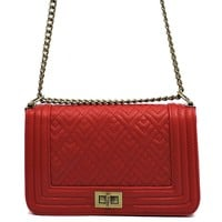 Quilted Box Crossbody Bag Red