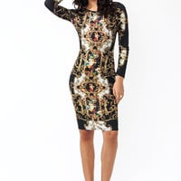 Fine-Art-Baroque-Print-Midi-Dress BLACKGOLD - GoJane.com