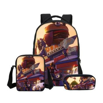Boys bookbag trendy VEEVANV Boys Fashion 3Pcs Set Fortnite Battle Royale School  Teenage Shoulder Bags Boys Students Mochila Laptop Backpacks AT_51_3