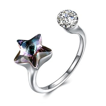 Black Sapphire Star Shaped Adjustable White Gold Ring 925 Sterling Silver Unique Casual Rings
