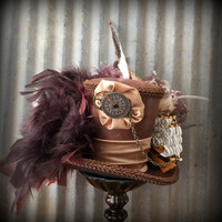 Steampunk Pirate Ship Mini Top Hat, Alice in Wonderland Hat, Tea Party Hat, Mini Top Hat, Ship Hat, Steampunk Wedding, Mad Hatter Hat