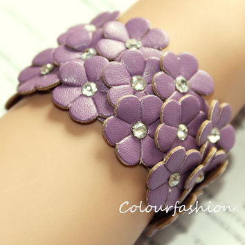 Christmas Gift, Purple Flower leather cuff, wristband watch, rhinestone bangle, Fashion coral, metal buckle, vegetable tanned leather B-2