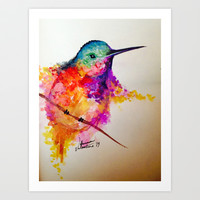 Rainbow Hummingbird Art Print by Shannon Valentine