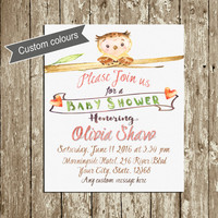 Rustic Baby Shower invitation printable Gender neutral Watercolor Owl Baby shower invitation Girl Boy Woodland Animal invite Custom colors