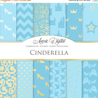 50% OFF Cinderella Digital Paper. Scrapbooking Backgrounds, Princess Gold and blue patterns for party and invitation. Commercial Use, Downlo