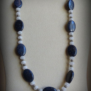 Lovely Lapis Necklace with Quartz and Sterling Silver, Statteam
