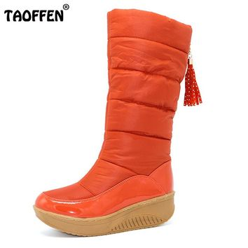 TAOFFEN Lady Winter Warm Snow Boots Platform Fur Cotton Shoes Flat Heels Knee High Boots Women Pu Leather Boots Size35-40