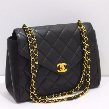 CHANEL Matelasse 25 Double Flap Chain Black Leather Shoulder Bag