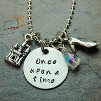 "Disney's ""Cinderella"" Inspired Silver Princess Necklace Jewelry Hand Stamped, Iridescent crystal on Metal Chain"