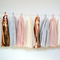 Blush Copper Gray and Ivory tissue Tassel Garland - Blush Wedding Decor - Blush Pink and Rose Gold Tassel Banner
