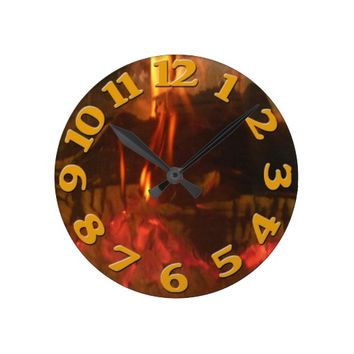 Burning Fire Round Clock