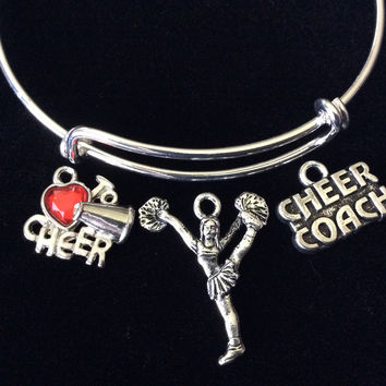 Love to Cheer Coach with Cheerleader Expandable Silver Charm Bracelet Adjustable Wire Bangle Handmade Gift Trendy Stacking Bangles