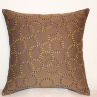 "Pillow Covers 18"" Set of Two - Tan with Circle Pattern"