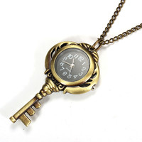 Necklace Key Shape Quartz Chain Pocket Watch