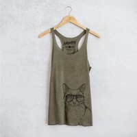 Maverick the Cat - Tri-Blend Racerback Tank Top