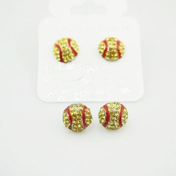 Softball Earrings Rhinestone