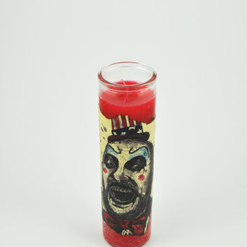"Captain Spaulding 8"" 7 Day Candle - House of 1000 Corpses - The Devils Rejects - Sid Haig - Rob Zombie - Horror - Cult Classic"
