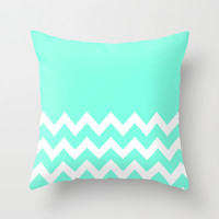Mint Chevron Colorblock Throw Pillow by Beautiful Homes