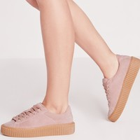 Missguided - Lace Up Flatform Sneakers Pink
