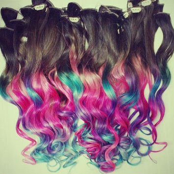 Ombre Dip Dyed Hair Clip In Hair Extensions Tie Dye Tips Brunette Hair Hair Wefts Human Hair Extensions Hippie Hair