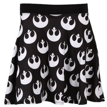 Star Wars Rebel Alliance Starbird Logos Licensed Women's Junior Skirt - Black