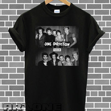 NEW One Direction Shirt 1D Four Logo Tshirt Printed Black Color Unisex Size - AR44