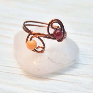 Copper Wire Wrapped Ring with Acrylic Beads, Midi Ring, Size 6.5, Womens Jewelry, Delicate Jewelry