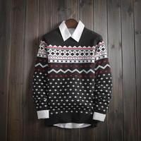 Mens Ethnic Geometric Boho Warm Sweater Slim Fit